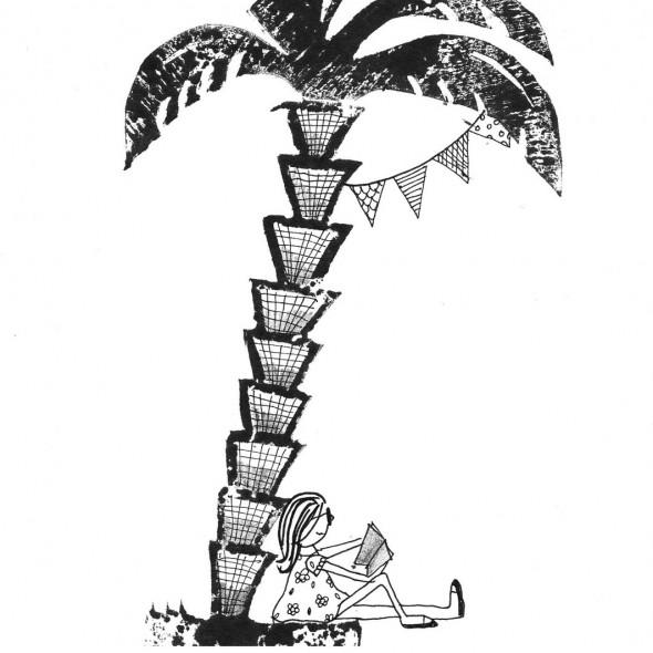 palmboom met vlag en vrouw02
